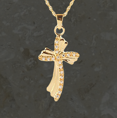 Keepsake jewelry -Fancy cross CZ - Gold