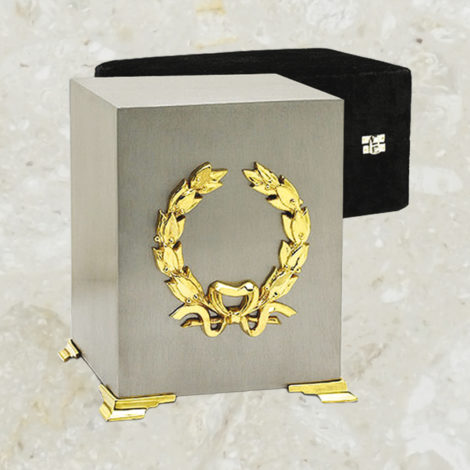 Cube - Fini étain brossé et couronne plaquée or 24k