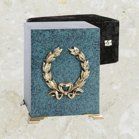 Cube - Fini patine marbrée et couronne or argentée