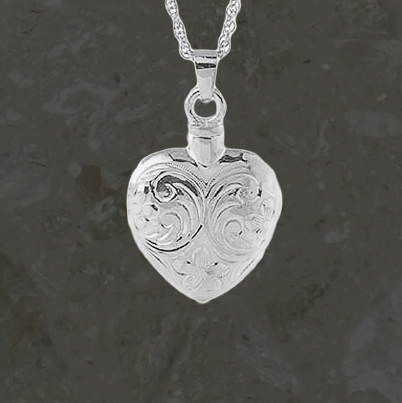 Keepsake jewelry - Etched heart - Silver