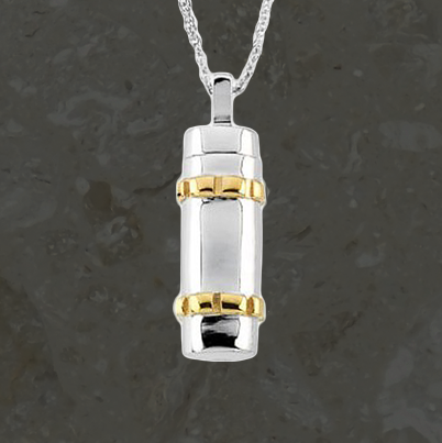 Keepsake jewelry - Cylinder and gold lines - Stainless steel