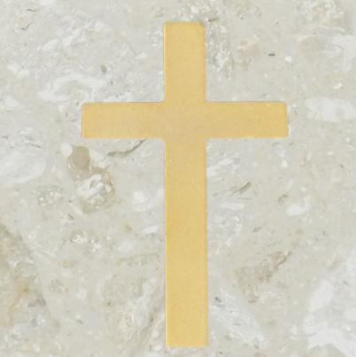 Urn ornament - Simple cross - Gold