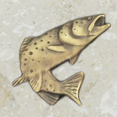 Urn ornament - Trout - Antique gold