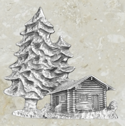Urn ornament - Cabin - Pewter
