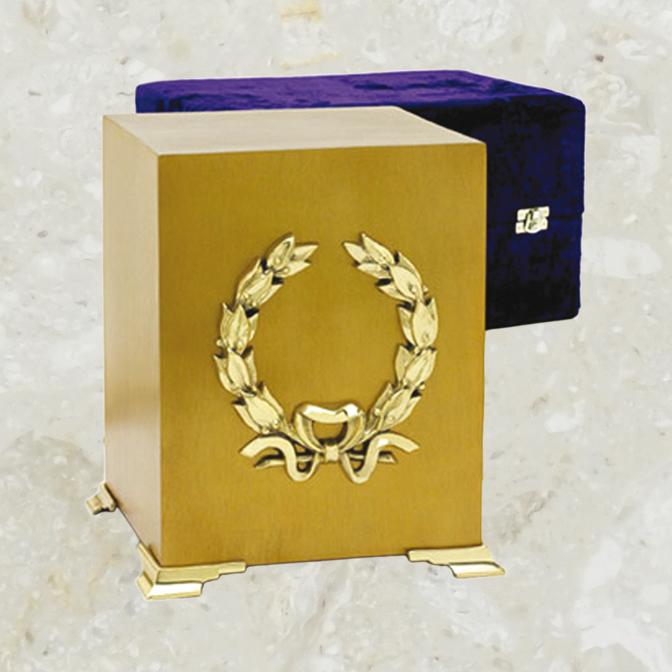 Cube – Fini laiton brossé et couronne dorée