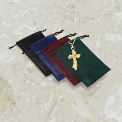 Pochette de velours – pour bijoux reliquaires – avec logo doré