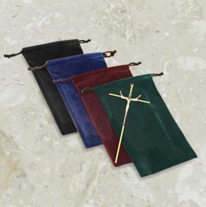 Pochette de velours – pour crucifix – avec logo doré