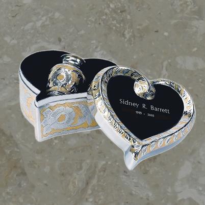 Reliquaire et boîtier assorti en forme de coeur – Deux tons