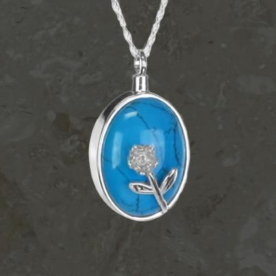 Bijoux reliquaires – Turquoise et fleur – Argent