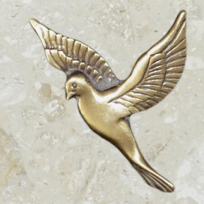 Ornement d'urne – Grande colombe – Or antique
