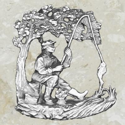 Ornement d'urne – Pêcheur – Étain